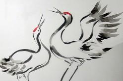 Parte exposición de ilustración de arte Sumi-e